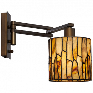 Robert Louis Tiffany Speckled Plug-In Swing Arm Wall Lamp
