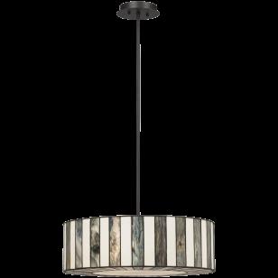Tiffany Style 20- Wide Striped Art Glass Pendant Light