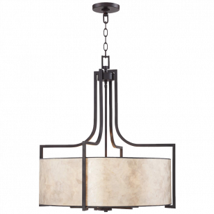 Wilson English Bronze 26- Wide Mica Shade Pendant Light