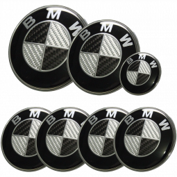 BMW Carbon Fiber Style Emblem Logo Badge Set