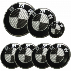 BMW Carbon Fiber Style Emblem Logo Badge Set