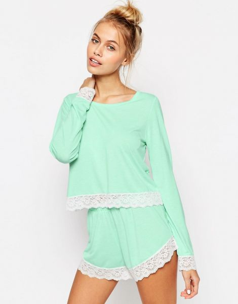 Lace Trim Long Sleeve Tee & Short Pyjama Set