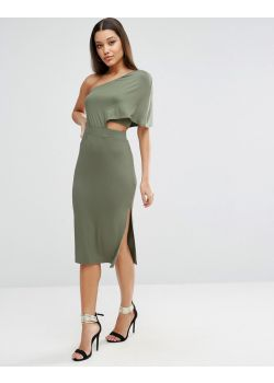 Deep One Shoulder Midi Bodycon Dress
