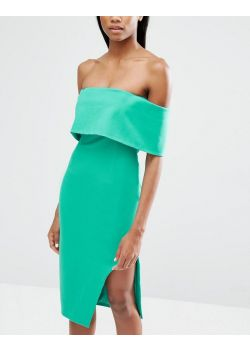 Lavish Alice Deep Bandeau Asymmetric Hem Midi Dress