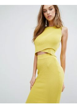 Missguided Ribbed Wrap Front Sleeveless Crop Top