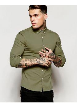 Skinny Shirt in Khaki Twill