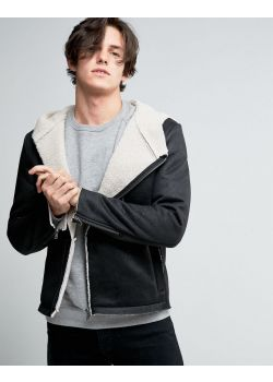 United Colors of Benetton Faux Shearling Hooded Jacket