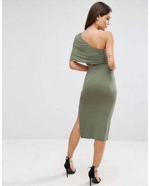 Deep One Shoulder Midi Bodycon Dress