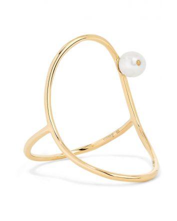 ANISSA KERMICHE Oval 14-karat gold pearl ring