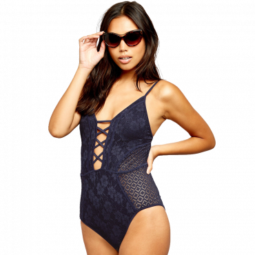 Crochet Plunge Lattice Front Swimsuit
