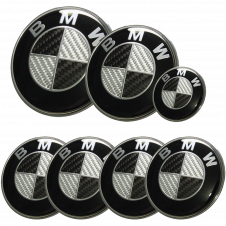 Afauto 7pcs BMW Carbon Fiber Style Emblem Logo Badge Set