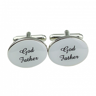 1 Pair Mens Silver Oval Wedding Cufflinks Groom