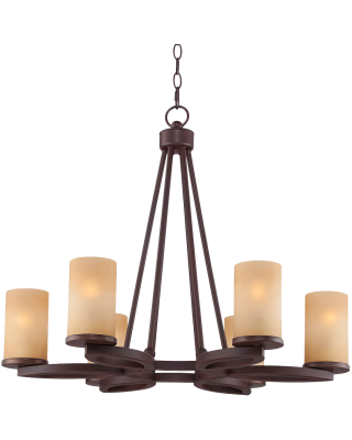 Fairport 6 Light 28  Wide Bronze Chandelier