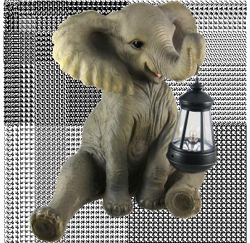 Cute African Elephant Porch   Garden Statue W  Lantern