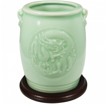 Wrapables Gifts And Decor Chinese Dragon And Phoenix Celadon Ceramic Vase