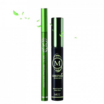 MCC ECOCERT Organic Green Tea Volumizing Mascara and Black Eyeliner Waterproof Set