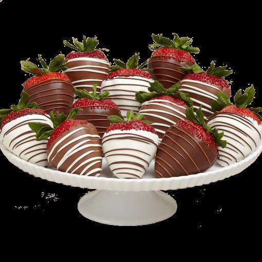 12 Gourmet Dipped Swizzled Strawberries