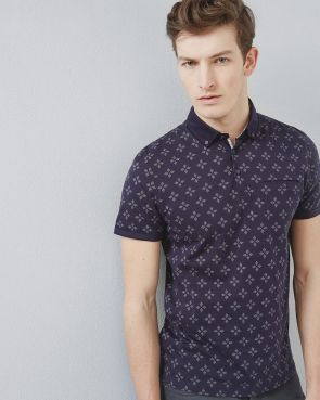 FELLA Diamond print polo shirt