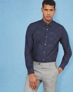 KIRKCUD Floral jacquard cotton shirt