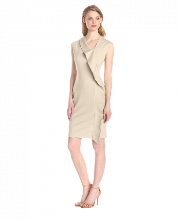 Anne Klein Women's Cap Sleeve Asymmetrical Neck Ruffle Dress